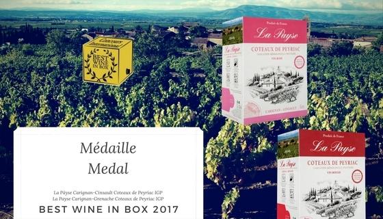 Nos BIB récompensés au concours Best Wine in Box 2017!